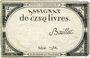 Billets Assignat. 5 livres. 10 brumaire an 2. Signature : Baillet