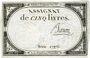 Billets Assignat. 5 livres. 10 brumaire an 2. Signature : Baron