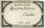 Billets Assignat. 5 livres. 10 brumaire an 2. Signature : Beurlier