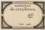 Billets Assignat. 5 livres. 10 brumaire an 2. Signature : Bot