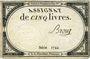 Billets Assignat. 5 livres. 10 brumaire an 2. Signature : Brouz