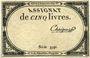 Billets Assignat. 5 livres. 10 brumaire an 2. Signature : Chaignet
