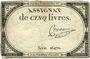 Billets Assignat. 5 livres. 10 brumaire an 2. Signature : Convieme