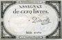 Billets Assignat. 5 livres. 10 brumaire an 2. Signature : D'osseville