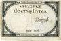 Billets Assignat. 5 livres. 10 brumaire an 2. Signature : Davion
