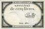 Billets Assignat. 5 livres. 10 brumaire an 2. Signature : Du Flog