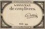 Billets Assignat. 5 livres. 10 brumaire an 2. Signature : Dubois