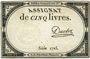 Billets Assignat. 5 livres. 10 brumaire an 2. Signature : Duclos