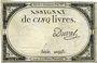 Billets Assignat. 5 livres. 10 brumaire an 2. Signature : Duval