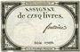 Billets Assignat. 5 livres. 10 brumaire an 2. Signature : Fontaine