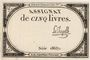 Billets Assignat. 5 livres. 10 brumaire an 2. Signature : La Chapelle