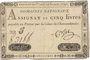 Billets Assignat. 5 livres. 31 juillet 1792. Signature : Corsel