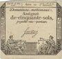Billets Assignat. 50 sols. 23 mai 1793. Signature : Saussay. Variété de filigrane