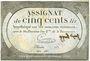 Billets Assignat. 500 livres. 20 pluviôse an 2. Signature : Crosnier