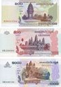 Billets Cambodge. Banque Nationale. Billets. 100 riels 2001, 500 riels 2004, 1 000 riels 2007