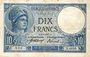 Billets Banque de France. Billet. 10 francs Minerve, 27.9.1917