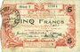 Billets Aisne, Ardennes et Marne - Bon régional. Hirson. Billet. 5 francs 14.6.1917, série 3
