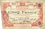 Billets Aisne, Ardennes et Marne - Bon régional. Laon. Billet. 5 francs 16.6.1916, série 3