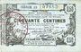 Billets Aisne, Ardennes et Marne - Bon régional. Laon. Billet. 50 cmes 16.6.1916, série 13