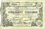Billets Aisne, Ardennes et Marne - Bon régional. Laon. Billet. 50 cmes 16.6.1916, série 19