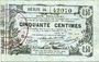 Billets Aisne, Ardennes et Marne - Bon régional. Laon. Billet. 50 cmes 16.6.1916, série 34