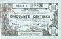 Billets Aisne, Ardennes et Marne - Bon régional. Laon. Billet. 50 cmes 16.6.1916, série 3