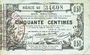 Billets Aisne, Ardennes et Marne - Bon régional. Laon. Billet. 50 cmes 16.6.1916, série 49