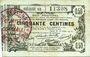 Billets Aisne, Ardennes et Marne - Bon régional. Laon. Billet. 50 cmes 16.6.1916, série 50