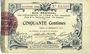 Billets Aisne et  Ardennes - Bon régional, Laon, billet, 50 cmes 19.9.1915, 4e série