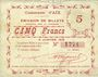 Billets Aix (59). Commune. Billet. 5 francs 9.1.1915