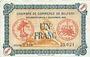 Billets Alsace-Lorraine. Billets émis par la Chambre de Commerce de Belfort. 1 franc 4.11.1918