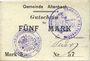 Billets Altenbach (68). Commune. Billet toilé. 5 mark (1914), cachets allemand et français, signé Feder