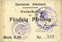 Billets Altenbach (68). Commune. Billet toilé. 50 pf (1914), cachets allemand et français, signé Feder