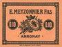Billets Annonay (07). E. Meyzonnier Fils. Billet. 10 cmes