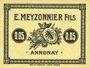 Billets Annonay (07). E. Meyzonnier Fils. Billet. 5 cmes