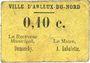Billets Arleux-du-Nord. Ville. Billet. 10 centimes. Carton jaune
