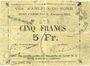 Billets Arleux-du-Nord. Ville. Billet. 5 francs 1915, avec cadre normal