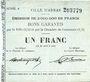 Billets Arras (62). Ville. Billet. 1 franc 29.8.1914, série A