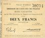 Billets Arras (62). Ville. Billet. 2 francs 29.8.1914, série BA