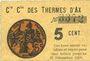 Billets Ax (09). Cie Gle des Thermes d'Ax. Billet. 5 cmes 1918