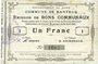 Billets Banteux (59). Commune. Billet. 1 franc 22.8.1915