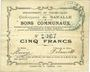 Billets Baralle (62). Commune. Billet. 5 francs 26.2.1915