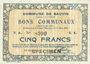 Billets Bauvin (59). Commune. Billet. 5 francs 11.3.1915, SPECIMEN