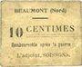 Billets Beaumont (59). Mairie. Billet. 10 centimes