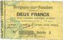 Billets Bergues-sur-Sambre (02). Commune. Billet. 2 francs  9.6.1915, série A