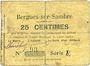 Billets Bergues-sur-Sambre (02). Commune. Billet. 25 cmes 9.6.1915, série A