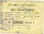 Billets Bergues-sur-Sambre (02). Commune. Billet. 50 cmes 9.6.1915, série A
