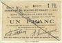 Billets Biache-Saint-Waast (62). Commune. Billet. 1 franc 5.1.1915, série B, n° rectifié à la main
