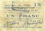 Billets Biache-Saint-Waast (62). Commune. Billet. 1 franc 5.1.1915, série B