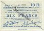 Billets Biache-Saint-Waast (62). Commune. Billet. 10 francs 5.1.1915, série C, annulation manuelle